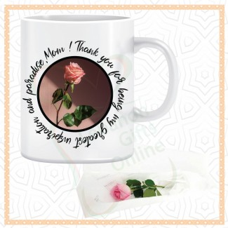 Thank You Mom Mug Rose And A Single Rose