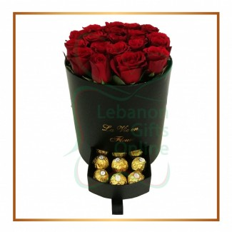 Round Black Huggy Rose Box