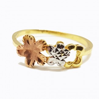 A Gold Ring Topped with three Flowers