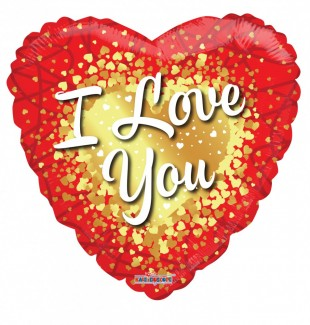 I Love You Gold Hearts Foil Helium balloons