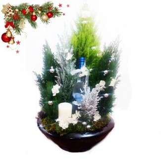 Shining Bright Christmas Tree huge arrangement with Belvedere vodka