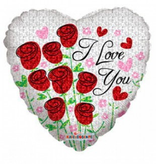 I Love You Red Roses Helium Balloon