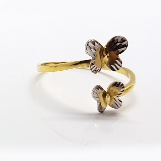 Double Butterflies Gold Ring