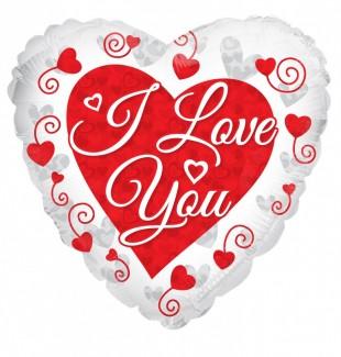 I Love You Prismatic Hearts Helium balloon