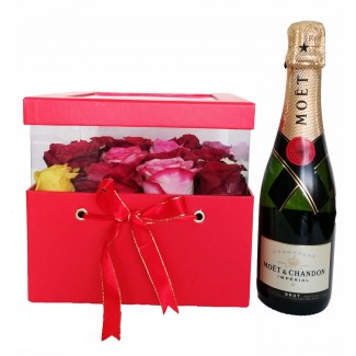 Moet and Roses in an Elegant Red Box