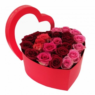 Multicolored Roses in red heart Box