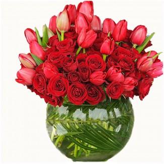 30 Red Roses Plus 20 tulips