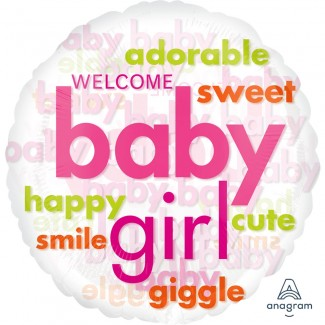 Baby Girl Word Cloud Balloon 18 Inch