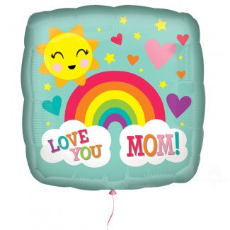 Love You MOM printed Rainbow Balloon