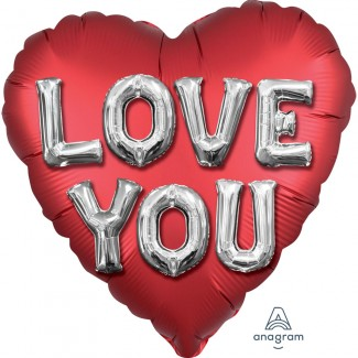 Satin love you balloon letters