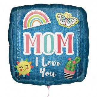 Mom Balloon with Mom I Love You Patches