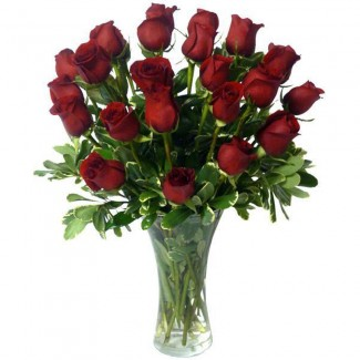 24 RED ROSES FLOWERS