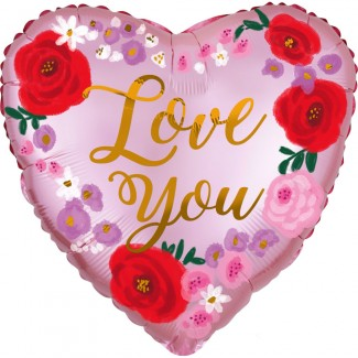 Helium Satin love you Painted Floral Balloon