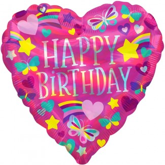 Heart pink birthday balloon