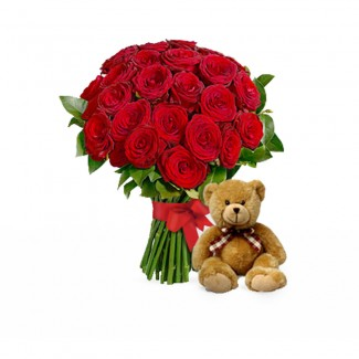 Teddy and Red Roses Package