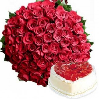 50 Red Roses Bunch with the best heart strawberry cake