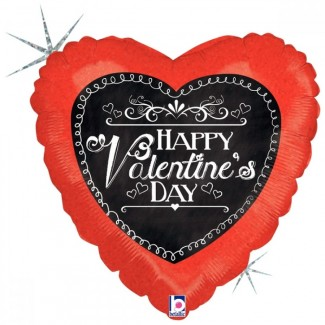 Holographic Chalkboard Script Valentine balloon