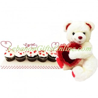 Love Cupcakes with Teddy bear holding velvet heart