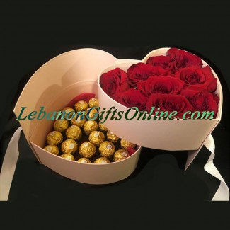 Combination of Roses and Ferrero in Pink heart Box