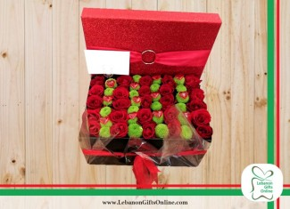 Red Box with Red Roses