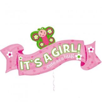 Its A Girl Cute As A Bug Balloon