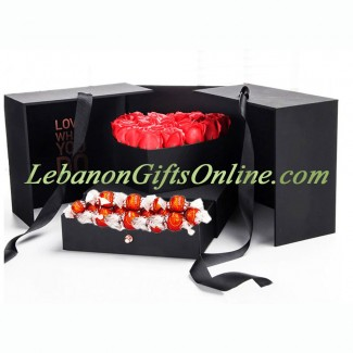 Lindor and Roses inside an Elegant Black Box