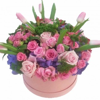 Pink Roses and Tulips in Pink Box