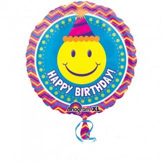 Smiley Face Fiesta Happy Birthday Balloon
