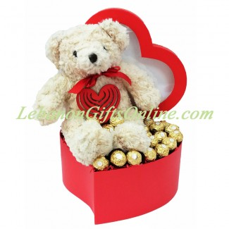 Teddy and Ferrero in a heart box