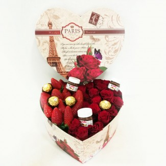 Paris Box With Chocolate and Roses