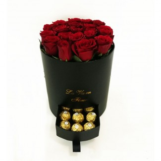 Round Black Huggy Rose Box