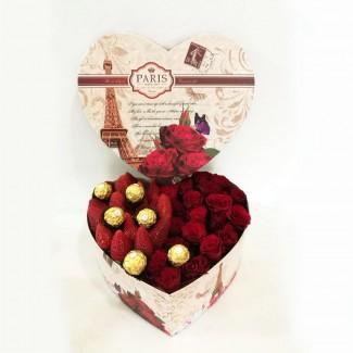 Combination of Rose,Strawberries and Ferrero