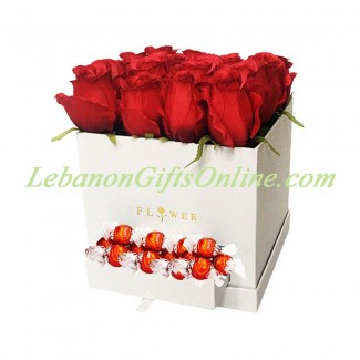 White Square Box with Lindor and Roses