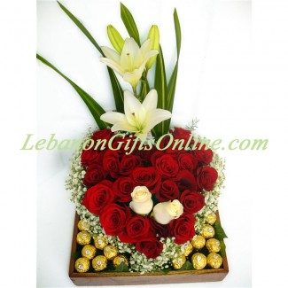 Heart Shaped Roses Surrounded by Ferrero
