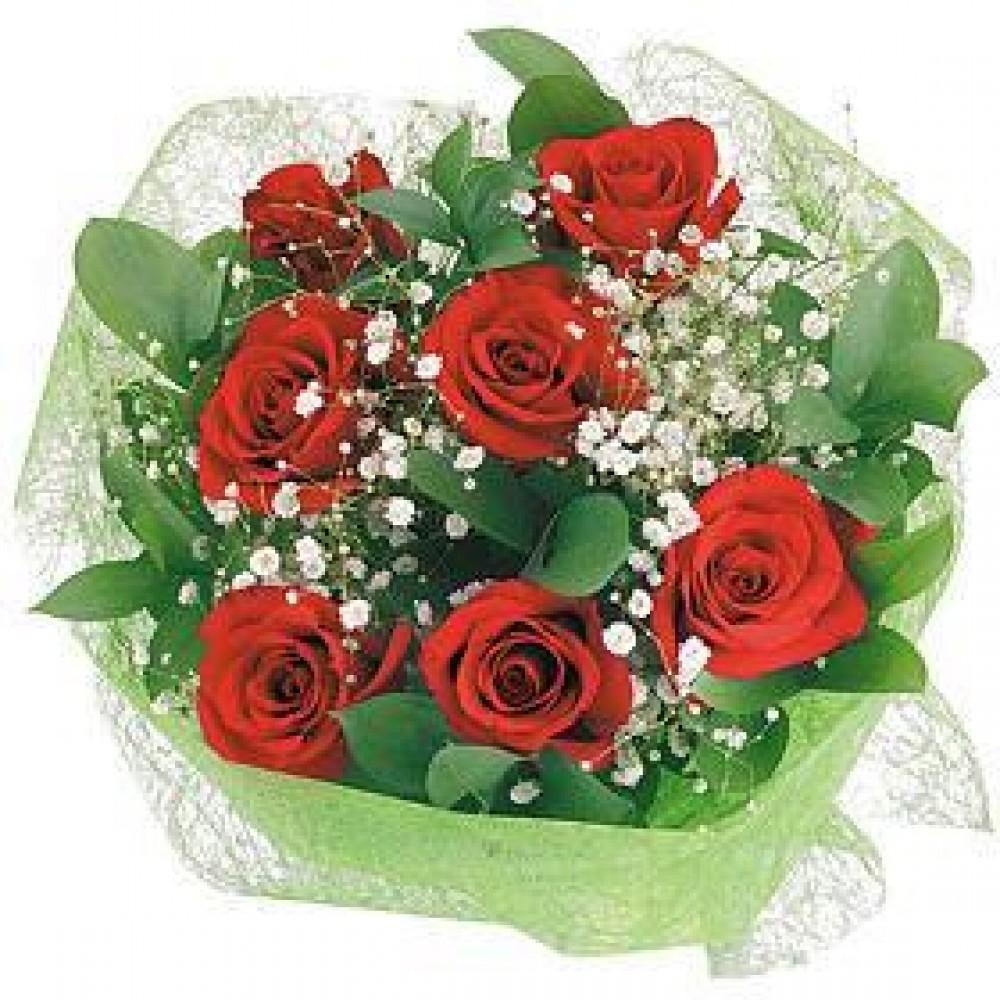 Цветов, большие букеты роз с гипсофилой