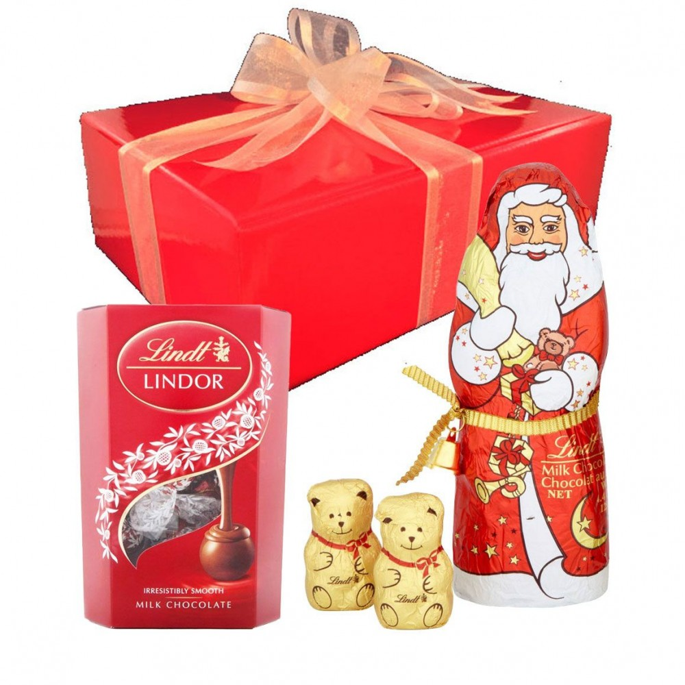 Lindt Inside Red Christmas Gift Box