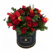 Colors of Fire Bouquet in A Black Box