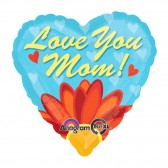 Helium Love You Mom Daisy Heart Foil 18in Balloons