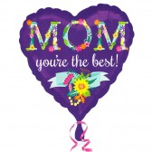 Helium MOM You are The Best Purple Heart Balloon